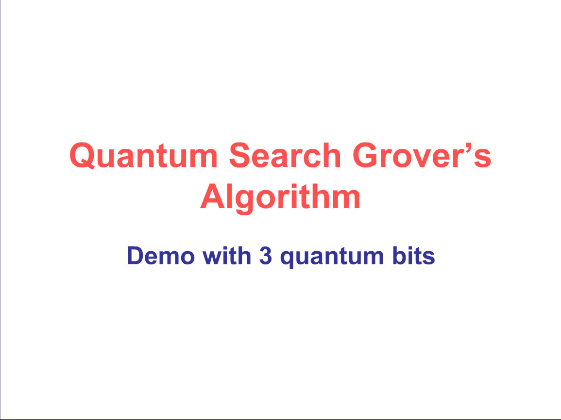 Quantum Search Grover's Algorithm
